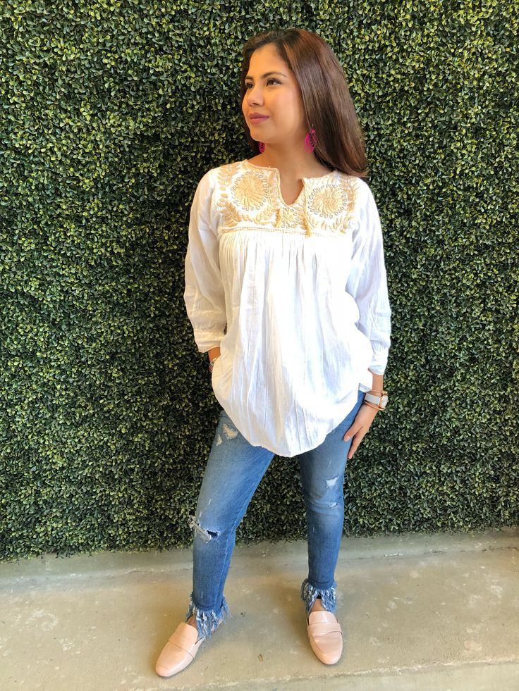 Neutral Blouse $45.00 Pretty Mexican blouse with embroidery flowers.   Size: Medium