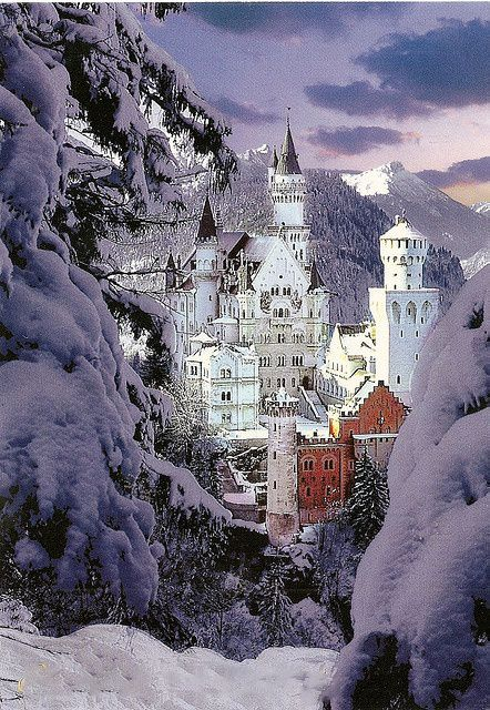 Neuschwanstein Castle at Winter in Germany. The castle that Cinderella castle is modeled after.