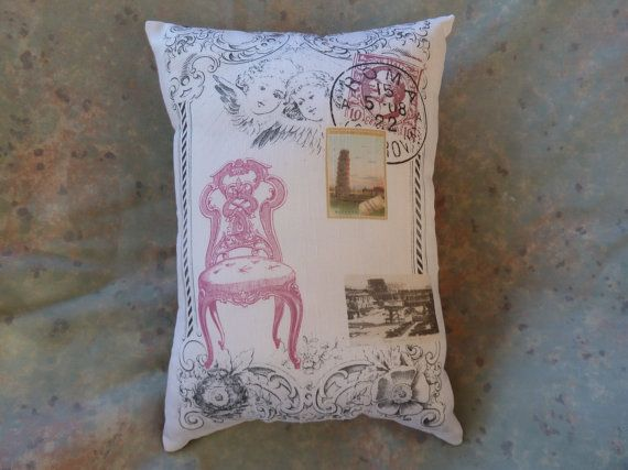 Italian Pillow Collage from Vintage Prints circa by Maisonvogue, $15.00