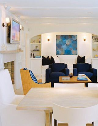 u0026 barrel sofa and club chairs are covered in a donghia boucl