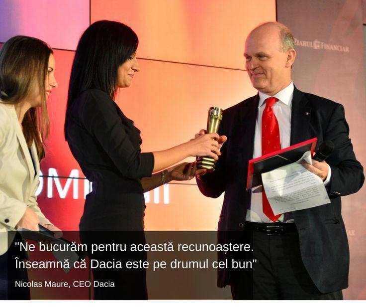 """Dacia, premiată în Gala ZF la categoria """"Cele mai valoroase companii din România"""". Este și meritul vostru. Vă mulțumim!"""