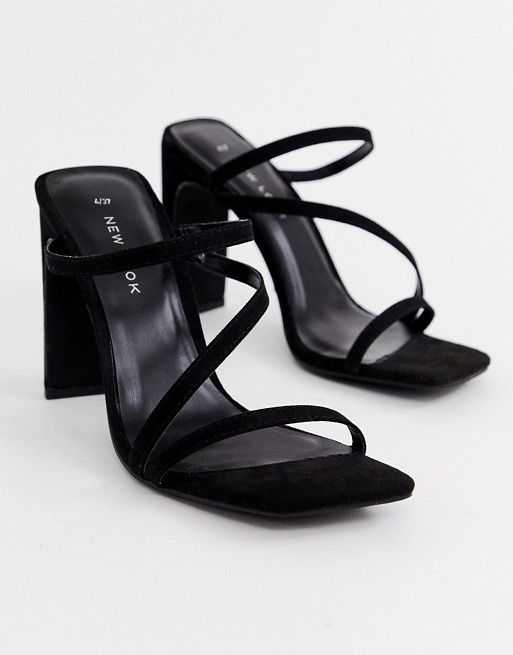 f5d53cf2bfa New Look square toe sandal in black in 2019