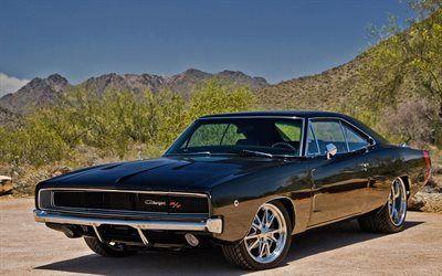 Scarica sfondi muscle car, la Dodge Charger, supercar, nero, Caricabatterie, Dodge