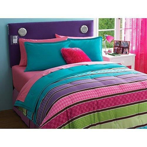 Pink, Green, Purple Girls Striped Full /Queen Comforter & Shams (3 Piece Bedding Set) By X, Http