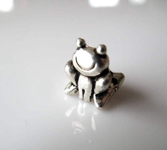1 Antiqued Tibetan Silver Frog Charm Big Hole by BijouxAndBauble