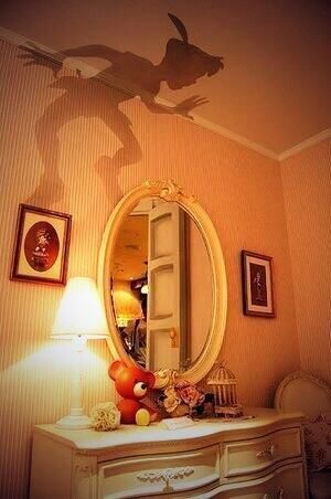 if i could have a child's room, i would totally have this peter pan shadow in it!