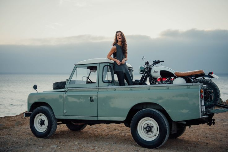 """dequalized: """"Lisbon-based classic car dealer Cool & Vintage shot this mint condition Land Rover Serie III, carrying a precious cargo, a Triumph Bonneville, modified by the MARIA Riding Company. """""""