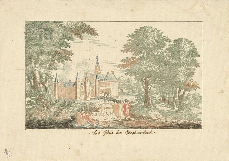 Cornelis Elandts | Kasteel Westerbeek, Cornelis Elandts, 1663 - 1670 | Landschap met hoge bomen en uitzicht op het rond 1800 afgebroken kasteel Westerbeek te Den Haag. Op een slingerd pad staan twee mannen met elkaar te praten. Naast het pad, in de schaduw van een grote boom, zitten twee vrouwen.