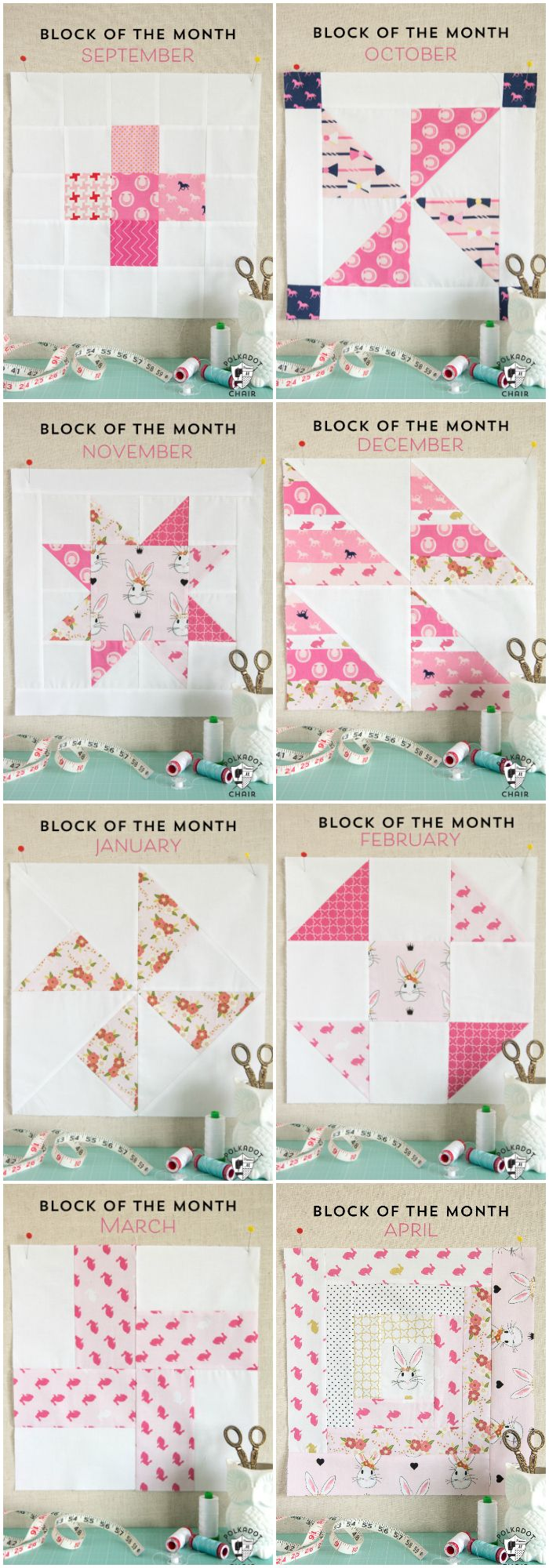 Free Quilt Tutorial and Pattern for a Log Cabin Quilt block; the April Block of the Month offered on the Polka Dot Chair Blog - So many cute quilt block ideas!