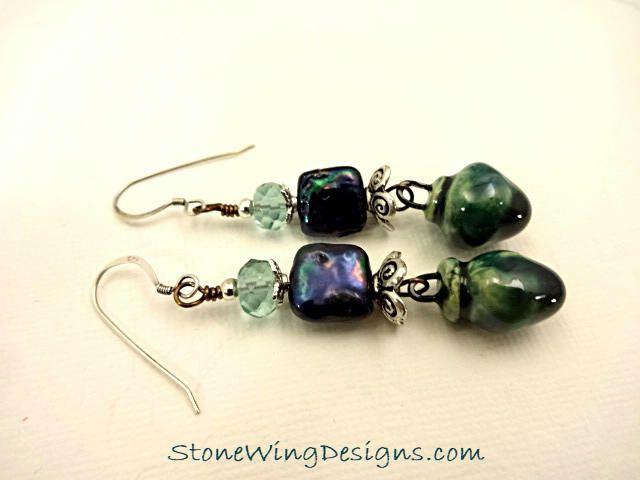 Teal Pearl Earrings, Porcelain Earrings, Artisan Earrings, Square Pearls, Pearl Earrings, Teal Jewelry, Artisan Porcelain, Gift for Wife by StoneWingDesigns on Etsy https://www.etsy.com/listing/566612770/teal-pearl-earrings-porcelain-earrings