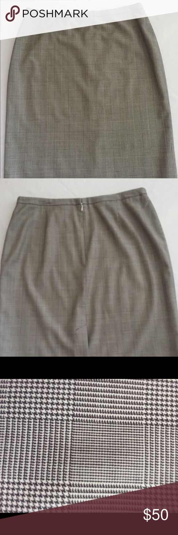 "Brooks Brothers Four Seasons Super 120's skirt. Excellent condition. Size 12. Classic brown/cream/navy Prince of Wales pattern. Straight skirt. Back slit. Narrow waistband. Measures approx 23"" from waist. Fabric woven in Italy. 100% wool. Lining 100% silk. Dry clean. Pet free, smoke free home. Brooks Brothers Skirts Pencil"