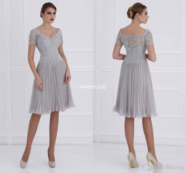 Silver Short Mother of the Bride Dresses with Sleeves Knee Length Pleated Chiffon Applique V Neck 2016 Custom Made Wedding Mother's Gowns Online with $87.56/Piece on Sweet-life's Store | DHgate.com