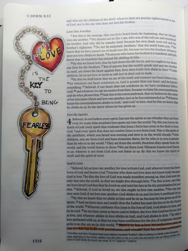 Perfect love casts out fear. Copic multilliner pens and colored pencils blended with gamsol. Bible art journaling.