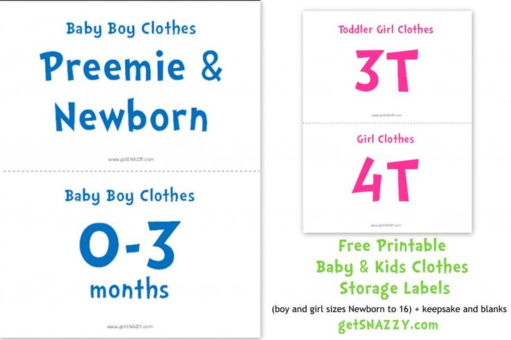 Baby Clothes Size Signs For Storage Or Garage Sale