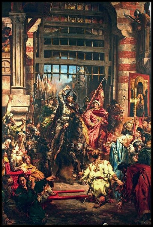 Boleslaw the Brave with Sviatopolk at the Golden Gate in Kiev, 1883 - Jan Matejko