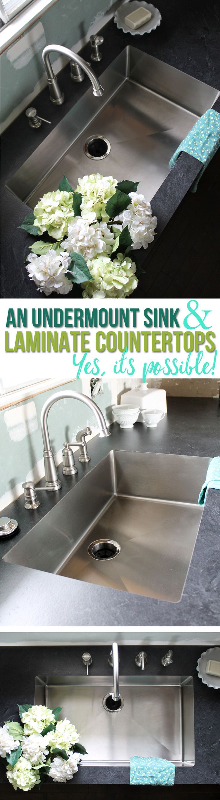 Yes, you CAN have an undermount kitchen sink with laminate countertops! This awesome sink is specially made to be installed seamlessly with laminate. Do it yourself or hire it out. This article shows you exactly how to DIY it! Great idea for your kitchen remodel.