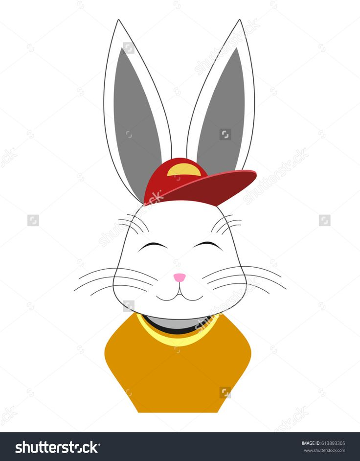 Vector #male #rabbit bust #sketch with red cap and orange blouse