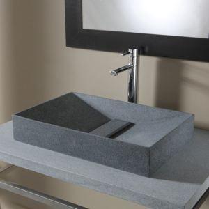 Image de Planetebain Vasque à poser rectangulaire type pyramide en pierre de qualité
