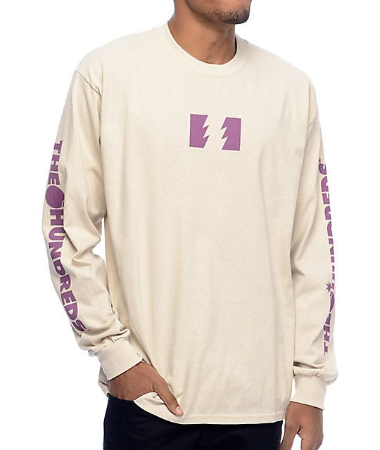 Rep your favorite streetwear brand with the Flag Logo light sand long sleeve t-shirt from The Hundreds. The tan colorway shows a burgundy lightning bolt flag graphic on the center of the chest and show The Hundreds text logo screen printed down both sleev