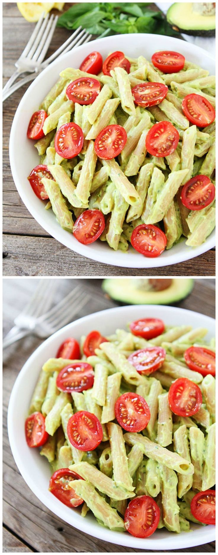 Avocado Goat Cheese Pasta Recipe on http://twopeasandtheirpod.com This creamy pasta dish can be made in 20 minutes! It is a great weeknight meal!
