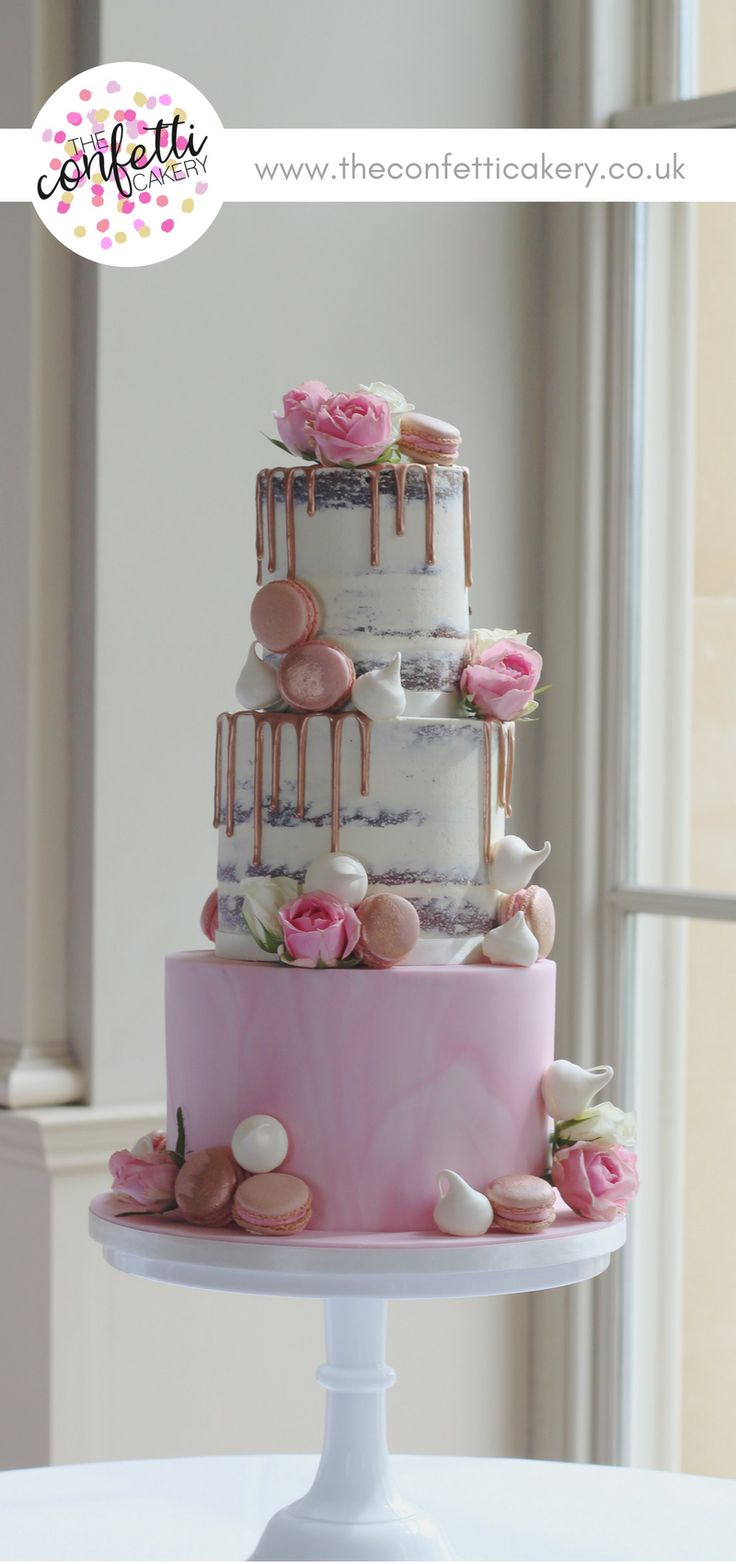 Modern wedding cake with semi-naked tiers and marbled sugar paste. Decorated with rose gold drips, macarons, meringues and roses. Cake & Image: The Confetti Cakery. Venue: Stubton Hall. #modernweddingcakes