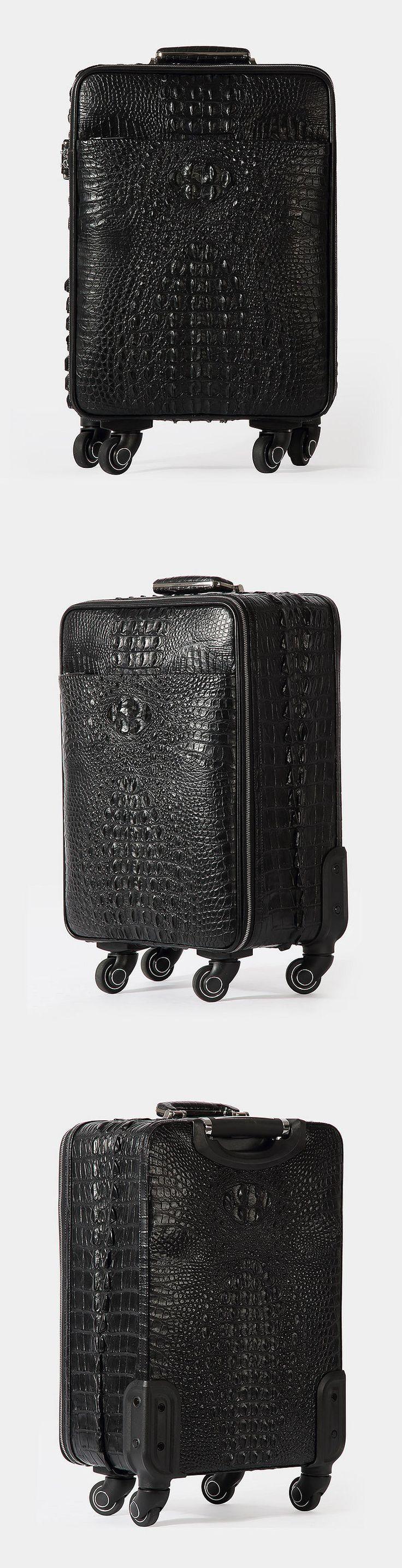 Crocodile Leather Luggage Bag Business Trolley Briefcase Travel Bag
