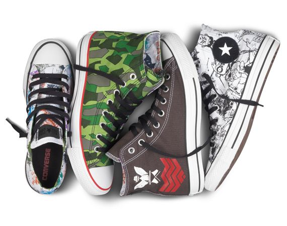 Designer and Gorillaz co-creator Jamie Hewlett teams up with Converse and creates four new graphic design images utilizing the classic Converse Chucks as the canvas.