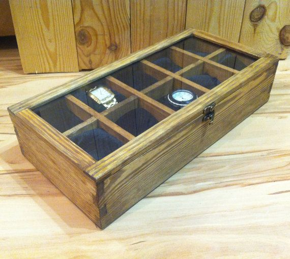 Ready to ship Rustic Men's Watch Box for 10 watches Wood