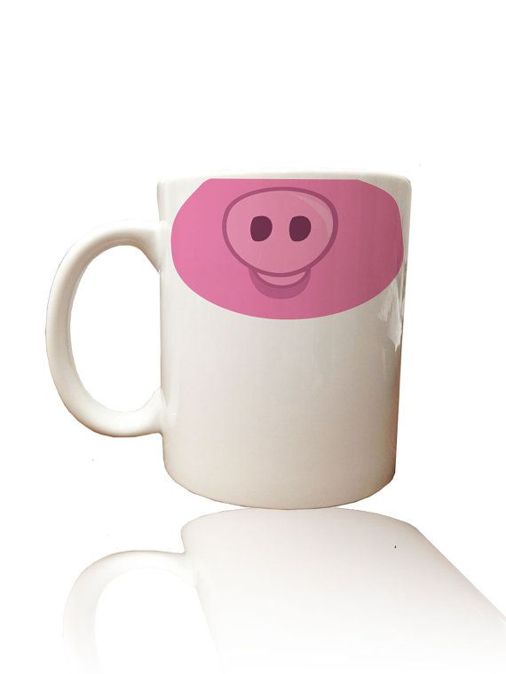 Items similar to Hand Painted Adorable Pig Snout Coffee Mug, Oink, Pig Nose on Etsy