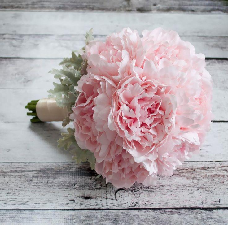Blush Pink Peony Wedding Bouquet by Kate Said Yes Weddings - Silk Wedding Bouquet