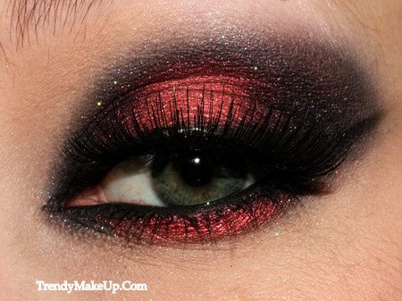 Red and Black Smokey Eye make-up.