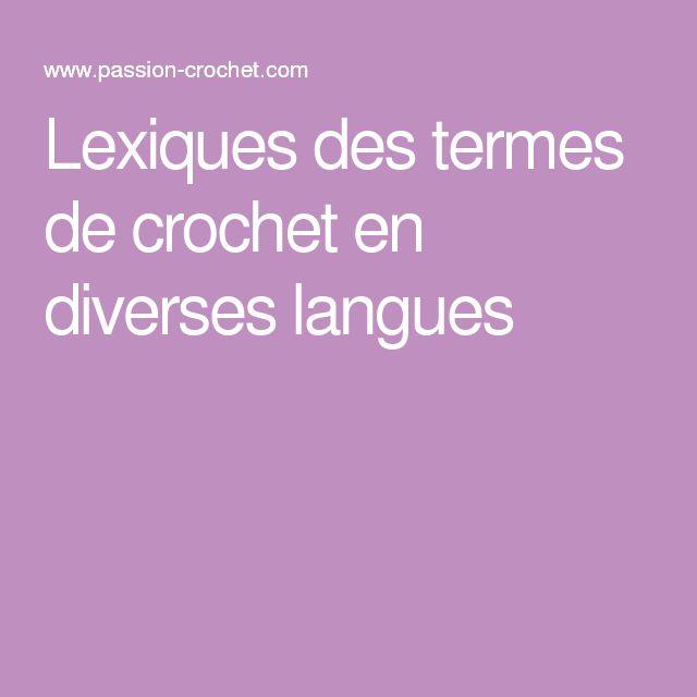 Lexiques des termes de crochet en diverses langues