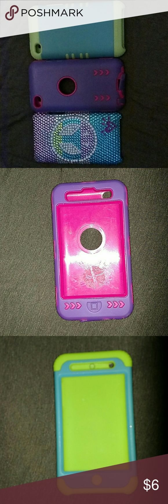 3 ipod cases A Justice ipod case that has a peace sign on it. It has some old tape sticky stuff on the back but does not bother anything and you can't see it, no jewels missing. A purple and pink case. A blue and green case. All as one thing Accessories Phone Cases