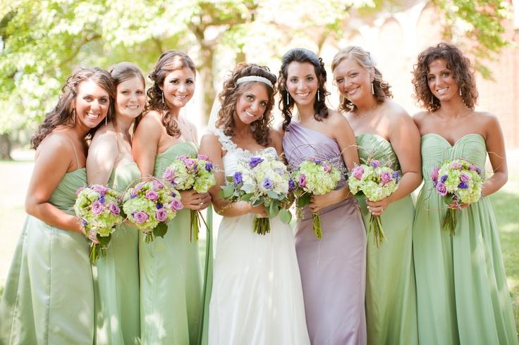 Non-matching bridesmaids gowns. Shades of sage + lavender. Wedding theme was woodland/vineyard =)