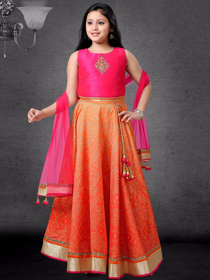 Pink Orange Silk Lehenga Choli Kids Lehenga Kids Frocks