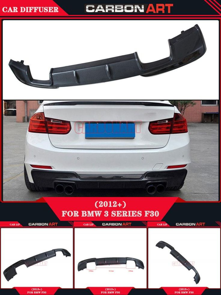 [Visit to Buy] Car styling F30 F35 duraflex body kits exhaust Carbon Fiber rear lip splitter auto diffuser for f30 3 series original bumper #Advertisement