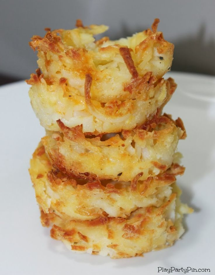 Make these simple hash brown cups by simply pressing frozen hash browns into muffin tins then adding your favorite topping!