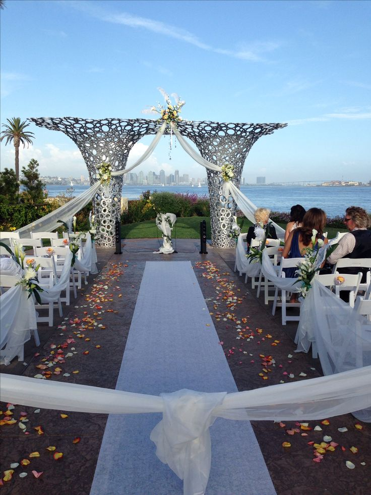 Wedding Ceremony At Tom Ham S Lighthouse I Decorated The Arch With Tule And Fl Arrangements