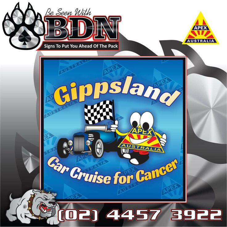 Logo design for Gippsland Apex Clubs Car Cruise for Cancer done by BDN Signs Ulladulla  Big Dog Nation  Ulladulla Lake Tabourie  Graphic Design Graphic Designer Designs Signs Signwriter  Car Wraps Uniforms Custom Cars
