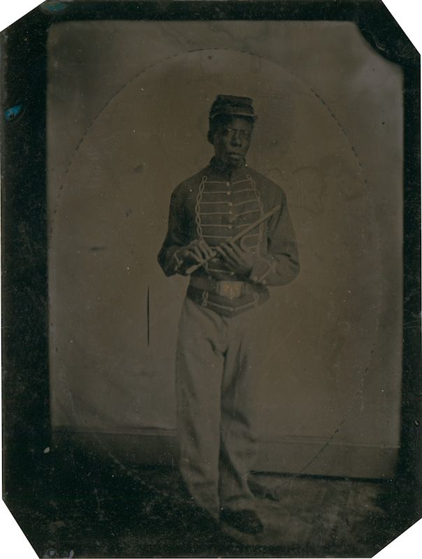 Private John Gooseberry, musician, 1864, tintype, Courtesy of the Massachusetts Historical Society
