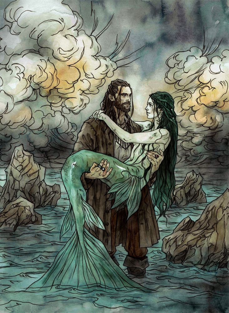 Illustration for author Emma Hamm, for her newest book Bride of the Sea. watercolors, ink Instagram Facebook