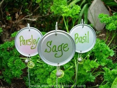 20 Creative DIY Plant Labels for your garden.  A great variety of ideas linked to the how-to's.  I personally like the corks, the can tops, and the plastic silverware.