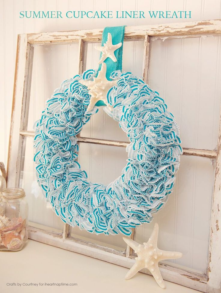 DIY Summer Wreath Using Cupcake Liners -super cute and inexpensive to make!