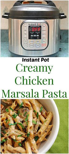 Instant Pot Creamy Chicken Marsala Pasta is the perfect meal of comfort. Creamy marsala and  mushroom sauce with chicken scattered throughout. In a fraction of the time! | What's Cookin, Chicago?