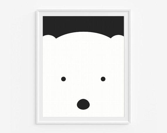 Polar bear nursery giclee print- Black and white kids room decor- Wall art for children- (A-315)