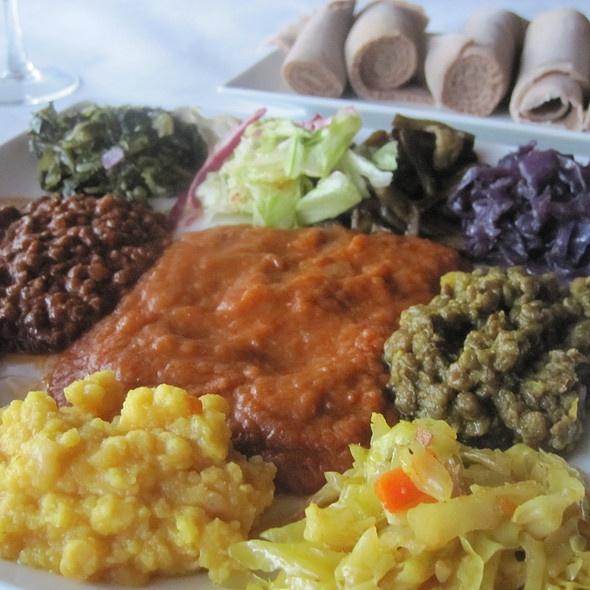 Vegetarian Combination @ Desta Ethiopian Restaurant in Dallas. It is an Ethiopian buffet of sorts on your plate.
