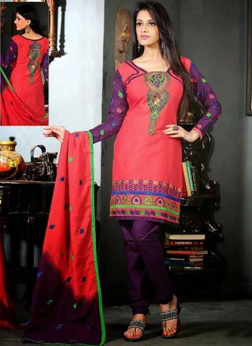 ClassyGleaming Purple & Pink Cotton Based #Salwar #Suit With Resham Work #churidarsuits #ethnicwear #womenapparel #womenfashion