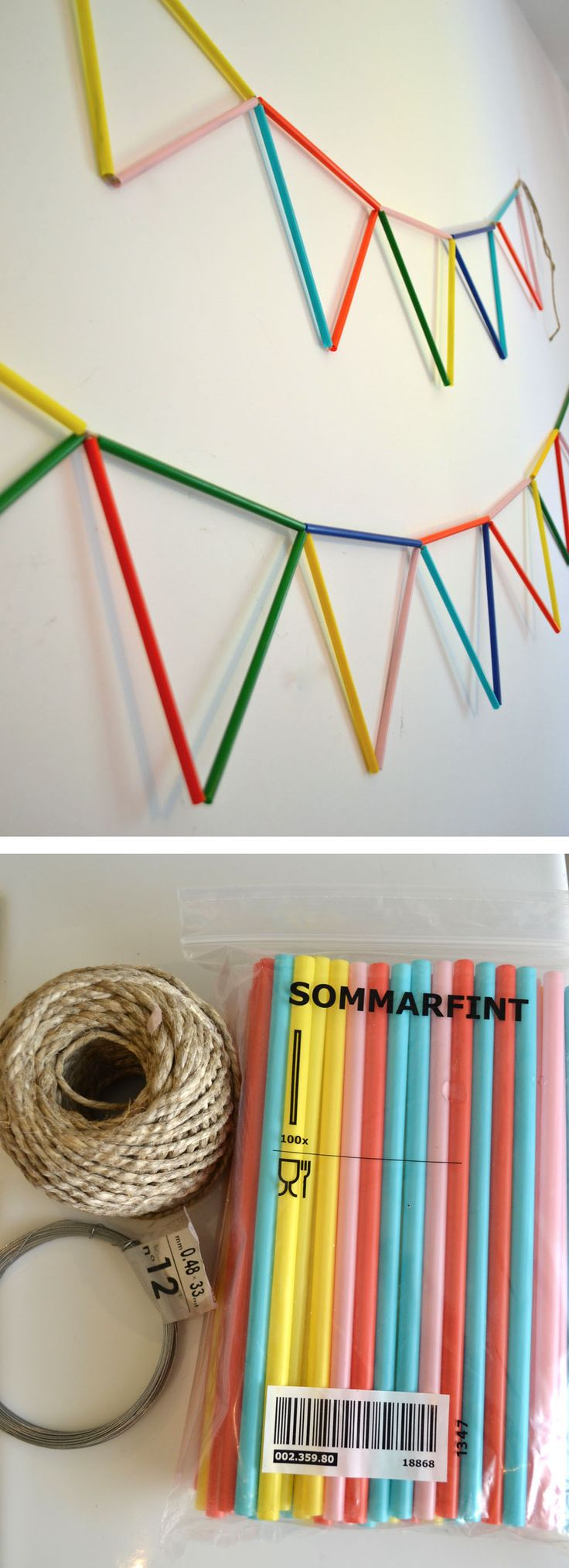 mommo design: IKEA HACKS - IKEA straw bunting (tutorial in link)