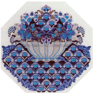 Vare nr. 530-6312,03 Broderi pakning Bjørn Wiinblad - Skål med blomster Str. 44 x 44 cm. Broderes med korssting på Hør med 10 tr. pr. cm. efter tællemønster. Pakken indeholder instruktion, stof, mønster, garn og en nål.