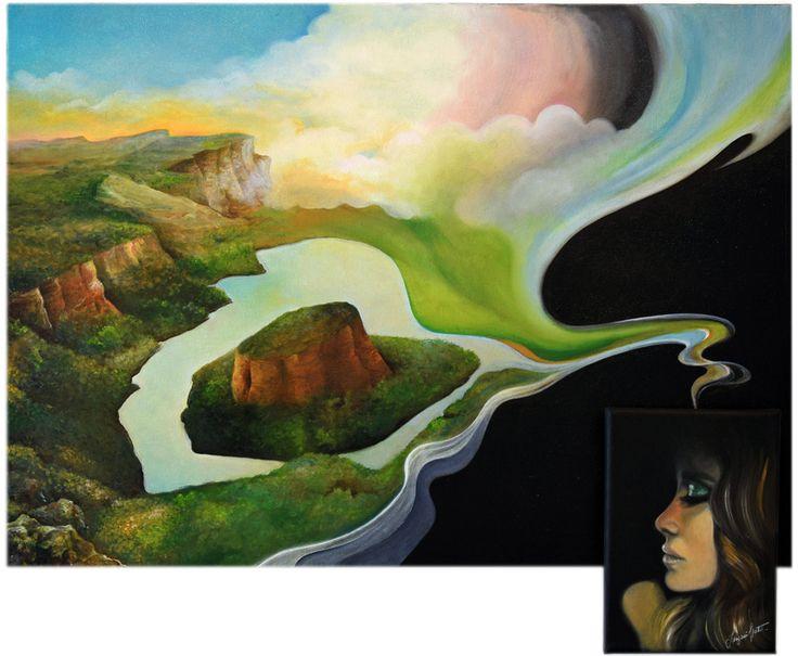 """Katia Longoni """"Il viaggio è nella testa"""" olio su tela - 2016"""